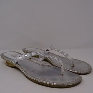 Cole Haan 9 B Silver Womens Leather Shoes Sandals